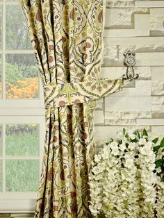 Damask patterns featuring petals, grass and leaves are carefully worked on these faux silk panels. 5 color combinations are available. Faux Silk Curtains, Damask, Window Treatments, Colorful, Beach, Pattern, Silver, Home Decor, Decoration Home