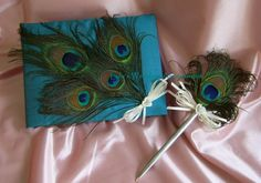 e1df4a4a5c3 Peacock Feather Guest Book and Pen by All4Brides