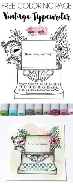 Vintage Floral Typewriter Free Coloring Page | DawnNicoleDesigns.com