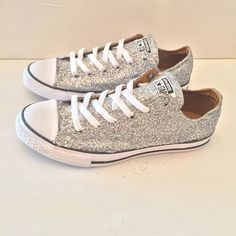 Womens Sparkly Silver Glitter Converse All Stars Shoes wedding prom bride