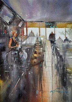 """""""San Pedro Cafe, Interior Painting"""" - Keiko Tanabe"""