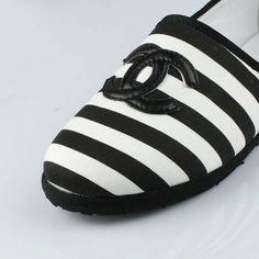 Chanel, black and white striped shoes