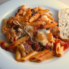 Baked Penne with Mushrooms and Mozzarella is a tasty and easy vegetarian meal adapted from a Mark Bittman recipe in How to Cook Everything.