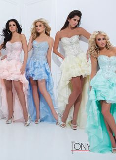 Tony Bowls 2014 Light Yellow Coral Light Blue Aqua High Low Prom Dress 114748 | Promgirl.net