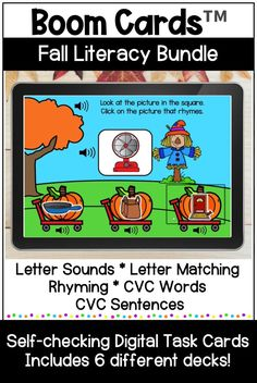 This fall themed bundle of Boom Cards includes 6 different literacy digital task card decks with audio directions and support. Skills include beginning sounds, letter matching, rhyming, CVC words, and CVC sentences. These self-checking digital task cards are perfect for your kindergarten, first grade, or preschool learners. They can be used for distance learning, home learning, or in the classroom. #kindergarten #boomcards #literacy #distancelearning