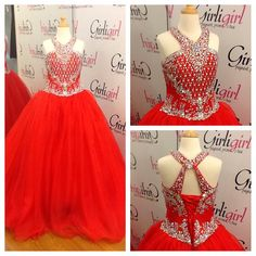 Beautiful little red pageant dress! AB beading along the bodice with a halter top and a corset back. 74 East Main St. Buford GA 30518 Phone:770-831-8795