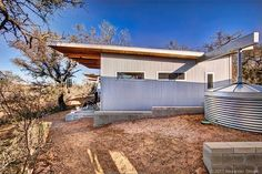 """This tiny home complex outside of Austin, the """"Llano Exit Strategy,"""" has six buildings for four families to visit at any time during the year. Huge Houses, Tiny Houses, Dream Houses, Location Chalet, Metal Siding, Tiny House Movement, Modular Homes, Green Building, Prefab"""
