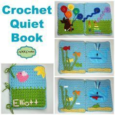 Free Crochet Quiet Book Pattern, Educational toy for children to learn using velcro, zipper, numbers, and colors. Great for Montessori Style of learning!