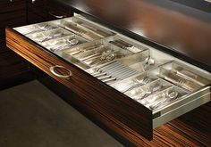 "Cutlery Organizer - in love with this! (not only the cuttlery organizer, but the ""zebrawood"" cabinets as well) Kitchen Drawer Organization, Kitchen Storage Solutions, Kitchen Drawers, Kitchen Cabinets, Kitchen Cabinet Manufacturers, Stock Cabinets, Interior Design Process, Kitchen Floor Plans, Small Cabinet"