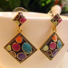 $5.10 Pair of  Multicolored Glazed Diamond Shape Pendant Earrings For Women