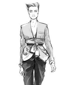 Black & white fashion illustration // Alena Lavdovskaya