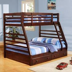 Bunk bed with double bed on the bottom