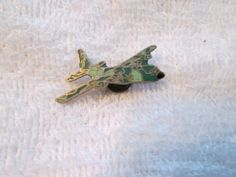 Vintage Camo Enamel Bomber Aircraft Old Hat Pin Screw Back