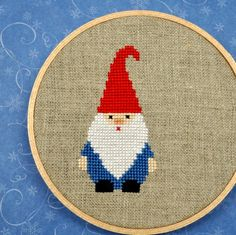 adorable gnome cross stitch!!  I'm not much in the gnome thing but he is cute!  almost cute enough to buy the pattern. When I was a child my parents made me stand as a lawn gnome...  .(I literally just repinned this because of the last thing about parents and lawn gnome, lol...wtf?)