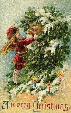 vintage postcard .......Father Christmas gets a mistletoe wreath from an angel
