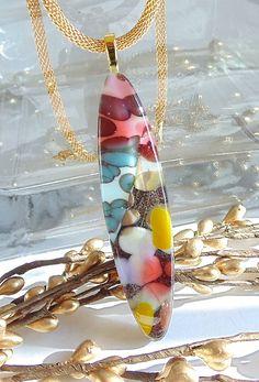 Fused Glass Pendant Fused Glass Jewelry Reactive door myfusedglass