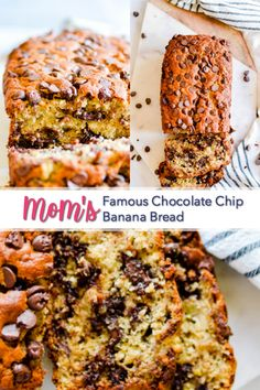 My mom's banana bread is full of chocolate chips and is SUPER soft and moist thanks to 4 whole bananas and a little bit of oil. It's the best! Honestly best banana bread I've ever made. So moist, so easy! Choc Chip Banana Bread, Easy Banana Bread, Banana Bars, Super Moist Banana Bread, 2 Bananas Banana Bread, Greek Yogurt Banana Bread, Banana Bread Cookies, Homemade Banana Bread, Chocolate Chip Recipes