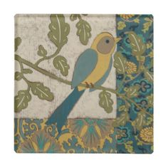 Yellow and Teal Blue Bird Perched on a  Branch Glass Coaster http://www.zazzle.com/yellow_and_teal_blue_bird_perched_on_a_branch_glass_coaster-256737755226210702?rf=238805303691357912