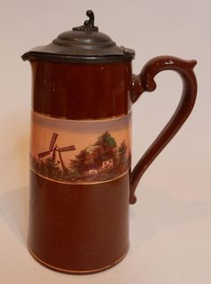 Antique Early Redware Syrup Pitcher w Pewter Lid Dutch Holland Scene Windmill  $65.00