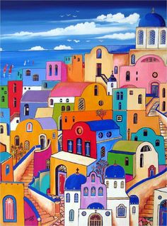 Santorini Island Greece Aegean Sea Vintage European Travel Poster Advertisement in European Old Posters, Santorini Island Greece, Mediterranean Art, Art Watercolor, Naive Art, Colorful Paintings, Vintage Travel Posters, Whimsical Art, Art Lessons