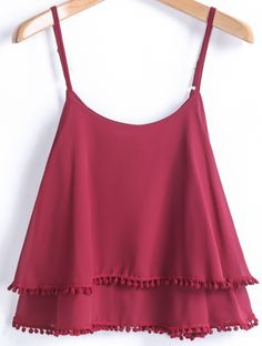 To find out about the Red Spaghetti Strap Double Layers Chiffon Vest at SHEIN, part of our latest Tank Tops & Camis ready to shop online today! Teen Fashion Outfits, Trendy Outfits, Girl Fashion, Cool Outfits, Casual Tops, Passion For Fashion, What To Wear, Clothes For Women, Stylish
