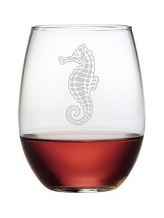 This set of Seahorse stemless glasses is perfect for wine, juice, tea or a cocktail.