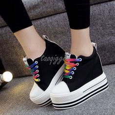 Women'S 12Cm Wedge Heel Gothic Casual Shoes Platform Breathable Canvas Sneakers