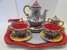 Tea Set Tea For Two Ceramic Tea Set Pottery by TerrapinAgainArt, $115.00
