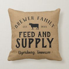 Personalized Feed Supply Grain Sack Throw Pillow
