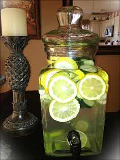 Healthy water... Mint, cucumber, lemon and lime!