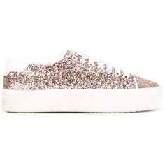 Saint Laurent Court Classic glitter platform sneakers ($580) ❤ liked on Polyvore featuring shoes, sneakers, white, leather shoes, platform sneakers, multi colored sneakers, white shoes and white lace up sneakers