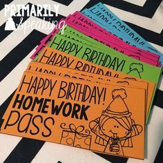 "Recognizing student birthdays with the ""Birthday in a Bag"" idea...Ideas for what to include, plus download this homework pass for free"