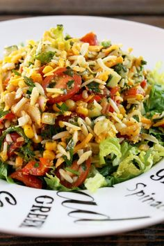 Chopped Orzo Corn Salad with Lemon Vinaigrette. This could be great for winter by roasting veggies and serving warm instead of cold.