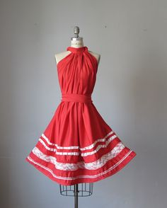 Dress / Red / Vintage lace / Ruffles / by AtelierSignature, via Etsy....    Can be made in any color. Maybe purple or peacock blue.