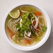Asian Chicken Noodle Soup. They use saifun (rice noodles) which really is a mung bean. They come dry and so you put them in a big bowl of water while you cook your soup. Then you take them out of that and throw them into your soup pan with the other ingredients. I make one like this dish without using bell pepper, but it sounds good. Pin leads you back there!