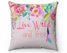 Nursery Decor, Pillow, Kids Room Decor, Girls Nursery Decor, Girls Pillow, Throw Pillow, Live Wild and Free, Boho Collection