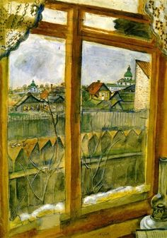 'View from a Window (Vitebsk)', Gouache by Marc Chagall (1887-1985, Belarus)