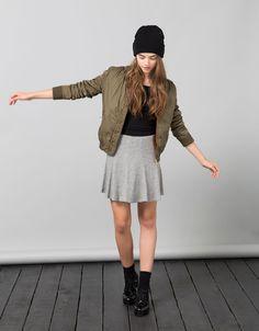 BSK nylon bomber jacket - Coats & Jackets - Bershka Belgium