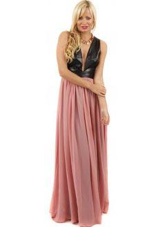 Goddess London Plunge Black PU & Dusty Pink Chiffon Maxi Dress