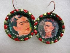 NEW: Frida Kahlo Earrings, handmade Mexican Bottle cap earrings in red and green by Sonoma Artistry