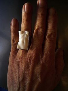 Shinji Nakaba  Torso Ring  Carved seashell, 18k gold