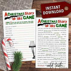 A Christmas Story Movie Party Game - Printable Mad Libs [ - Wild Truth Design Co Office Christmas Party Games, Christmas Games For Adults, Holiday Party Games, Holiday Ideas, Christmas Parties, Christmas Activities, Xmas Games, Xmas Party, Christmas Printables