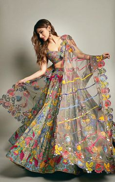 Simple Designer Grey color printed lehenga choli for bridal look.For order WhatsApp on draping styles dress for bride indian dresses indian teens wedding outfits sisters blouse designs indian with dress blouse designs dresses indian designs indian bridal Indian Lehenga, Indian Gowns, Pakistani Dresses, Net Lehenga, Indian Wear, Indian Fashion Dresses, Indian Designer Outfits, Designer Dresses, Fashion Outfits