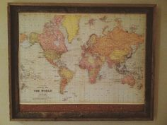 framed world travel map w cork // pin map on Etsy