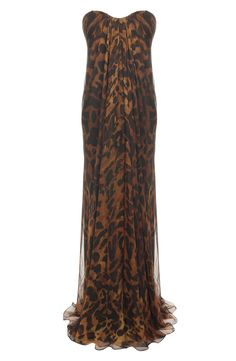 OCELOT SILK CHIFFON BUSTIER DRESS $3779 -- This would be a perfect wedding dress. For me.