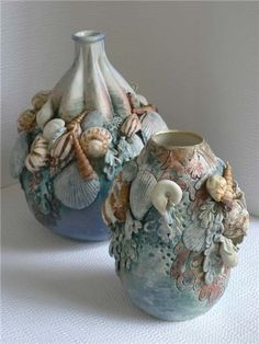 Excellent Totally Free Ceramics Projects ocean Concepts Elaine Hind, Pro Member in Ludlow, West Midlands – Members Sea Crafts, Diy And Crafts, Arts And Crafts, Seashell Art, Seashell Crafts, Wine Bottle Crafts, Bottle Art, Glass Bottle, Glass Jars
