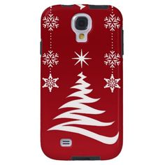 Red Elegant Christmas Snowflakes Samsung Galaxy S4 Case.