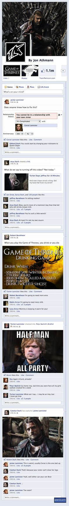 What if the characters from Game of Thrones were on Facebook?