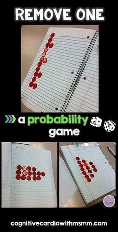 Remove one is a great game to introduce or reinforce probability concepts! Blog post explains how it works. #math #probability