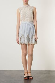 Blue Cutout Lace Skater Skirt  perfect for the summer